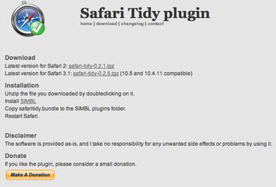 Safari3.1用HTMLバリデータ「Safari Tidy plugin」