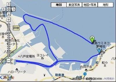 八戸湾内から工場夜景の写真を撮るツアーの運行ルート