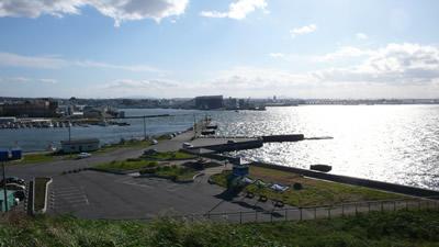 蕪島からみた八戸港