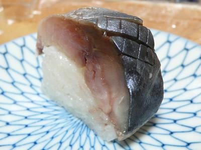 鯖寿司のアップ(八戸産)